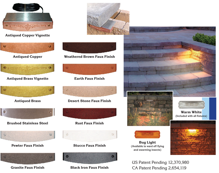 VAriety of colors for landscape wall lighting projects